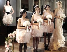 "Young female characters on the teen drama series, ""Gossip Girl,"" demonstrate class and elegance in the outfits they wear, including sheer pantyhose, as bridesmaids during a scene from the show."