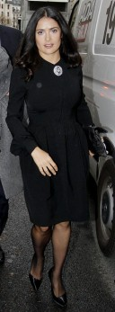 Not sure where actress Salma Hayek is actually headed in this photo, but this is a perfect example of how a woman should dress for a funeral.