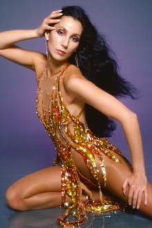 Singer/actress Cher was known for her exotic costumes on stage, always with suntan or nude pantyhose.