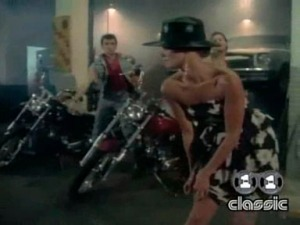"A beautiful scene when Christie Brinkley pulls the fabric of her sheer nude pantyhose up her leg in Billy Joel's ""Uptown Girl"" music video in 1983."