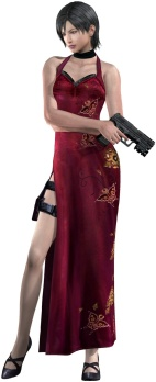 Most artwork depicts the Ada Wong character in the Resident Evil video games as wearing sheer pantyhose.