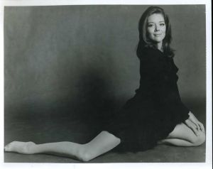 Diana Rigg as Emma Peel often wore mini-skirts, flat or low-heeled shoes and extremely sheer pantyhose on TV's The Avengers.