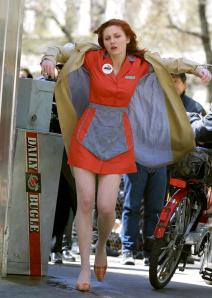 Kirsten Dunst as Mary Jane Watson wears sheer nude pantyhose in a scene from the 2002 Spider-Man movie.