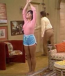 No matter what the scene or the outfit, Joyce DeWitt's character, Janet Wood, always wore suntan pantyhose on Three's Company.