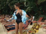 Lynda Carter as Diane Prince. Ahhh, the 70s - even at the pool, pantyhose ruled.