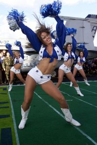 Dallas Cowboys cheerleaders perform during an NFL game.