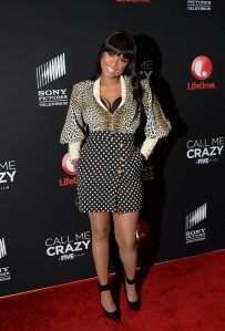 Jennifer Hudson looking snazzy in this ensemble, complete with sheer pantyhose.