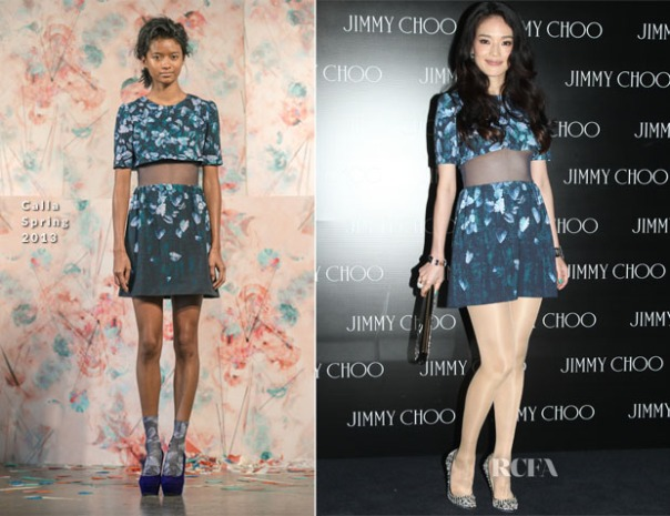 A model, left, and Taiwanese actress Shu Qi wear the same outfit, but Shu rocks it in sheer tights.