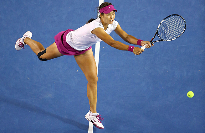 Li Na goes after a shot to her backhand during the 2014 Australian Open Women's Single's championship match.