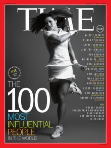 Li Na graces the April 29, 2013 cover of Time Magazine, honoring her among the magazine's Top 100 Most Influential People in the World.