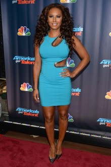 Mel B wears some interesting dresses as a judge on AGT, but never with sheer pantyhose.