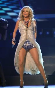Singer/songwriter Carrie Underwood has been known to wear sheer pantyhose during performances.