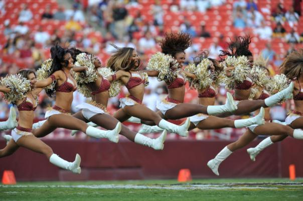 The Washington Redskins cheerleaders perform a routine before a game against the Pittsburgh Steelers  Aug. 12, 2011 at FedExField in Landover, Maryland.  (Photo by Larry French/Getty Images)