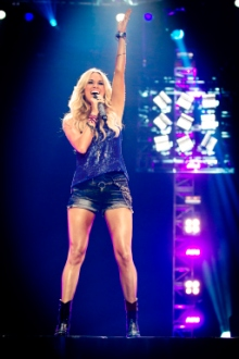 Singer Carrie Underwood could have performed in a biker bar with this getup.  (Photo by: Paul Drinkwater/NBC)