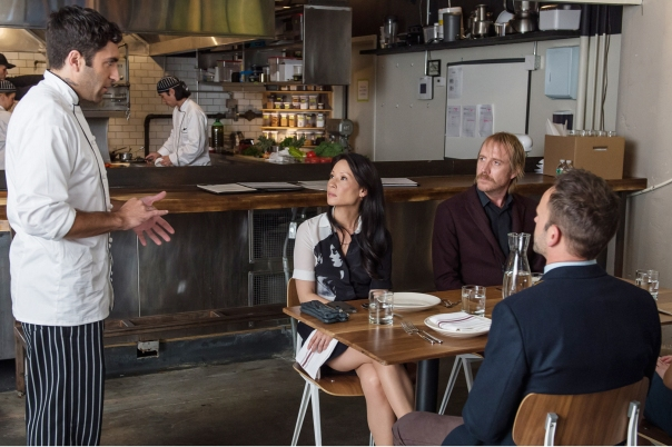 "Mycroft (Rhys Ifans, middle) enlists Holmes (Jonny Lee Miller, right) and Watson (Lucy Liu, left) to help solve a case in an episode of the CBS detective series, ""Elementary"" last season.  Photo: Jeff Neumann /CBS"