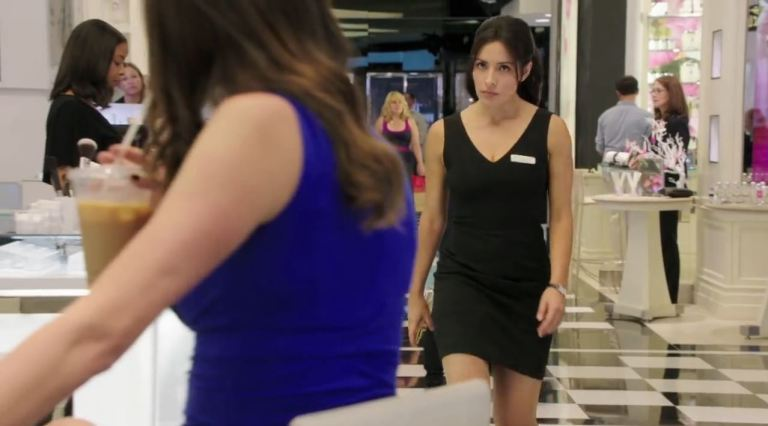 Not amused at working in a department store as part of her new  cover ID, Sameen Shah (Sarah Shahi) approaches a team member who came up with the role for her.