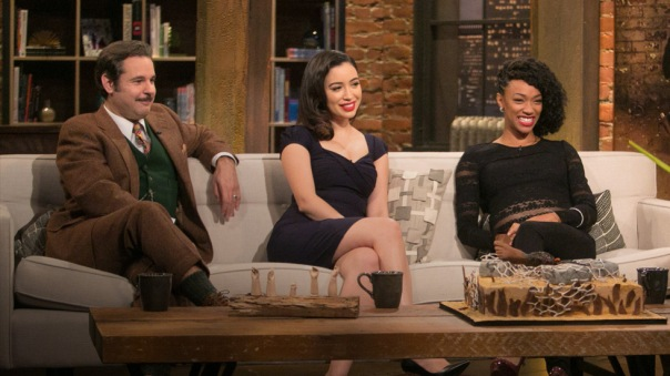 """The Walking Dead"" actresses Christian Serratos (Rosita), center, and Sonequa Martin-Green (Sasha), right, and comedian Peter Tompkins discuss last Sunday's episode with ""Talking Dead"" host Chris Hardwick."