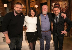 """The Walking Dead"" executive producer Robert Kirkman, left, Lauen Cohan (Maggie),    and Scott Wilson (Hershel) appeared last season with host Chris Hardwick, host of ""Talking Dead."""