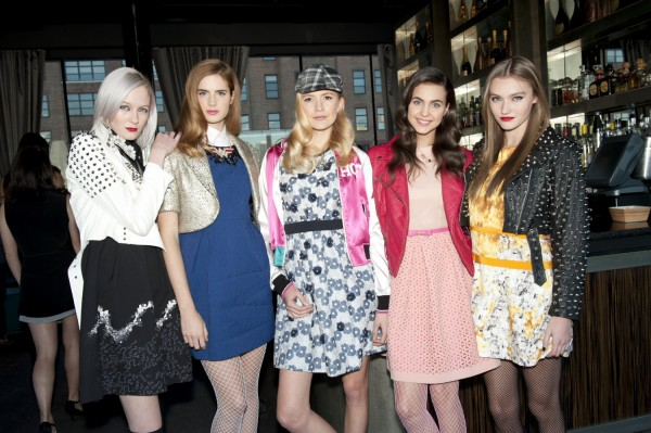 Four out of five models wear pantyhose during a 2012 fashion event hosted by Costume Designer Patricia Field in New York City.