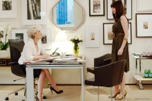 Meryl Streep, left, and Anne Hathaway during a scene from the movie,