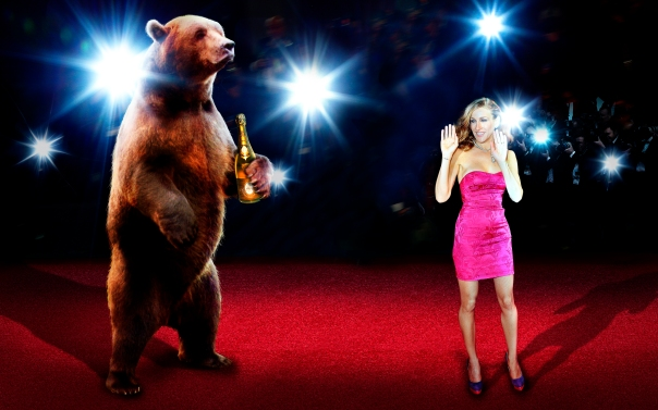 SJP's moment on the red carpet is interrupted by the Grizzly during the ActSensuous award ceremony for her last month.