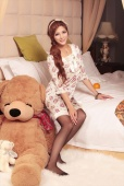 Chinese star Lin Xiao Nuo is content in the company of bears
