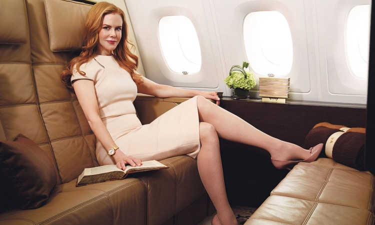 Actress Nicole Kidman during recent filming of a TV commercial for an airline company.